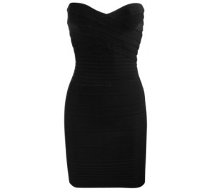 black strapless bandage dress
