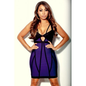 'Jo' Purple & black bodycon bandage dress