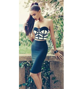 'Lena' two piece zwart / wit bandage jurk