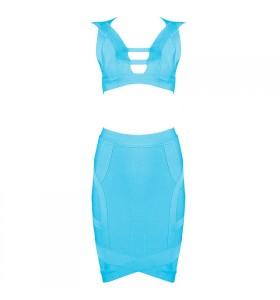 'Gina' Lichtblauwe two piece bandage jurk