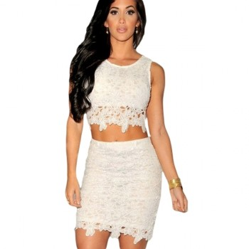 'Adora' white lace two piece dress