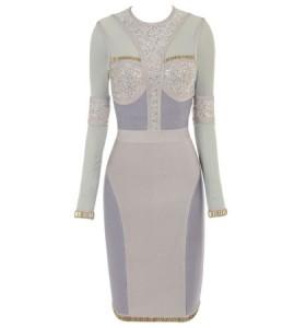 Karina crystal bandage dress met lange mouwen