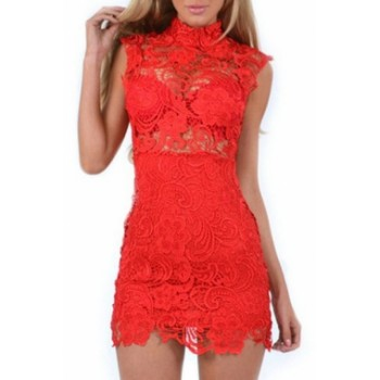 'Carmen' red lace dress with high neck