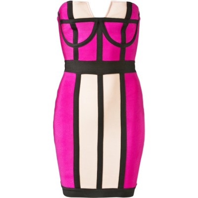 'Arriana' colorblock hot pink strapless bandage dress