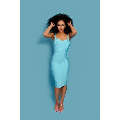 'Ada' light blue midi bandage dress