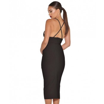 'Jhene' black v-neck midi bandage dress