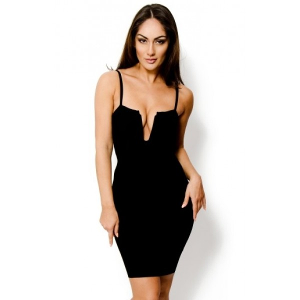 8616c7bf31ca Sexy black deep v-neck plunging bandage dress