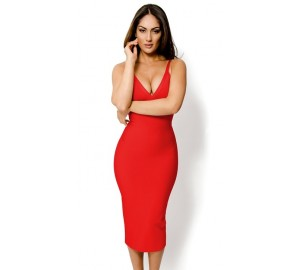 'Jhene' red v-neck midi bandage dress