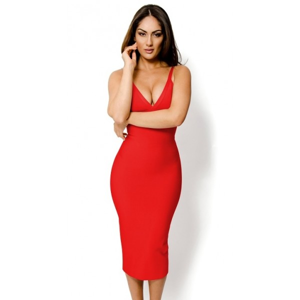 f5ed935038ce Long red deep V neck knee length bodycon bandage dress