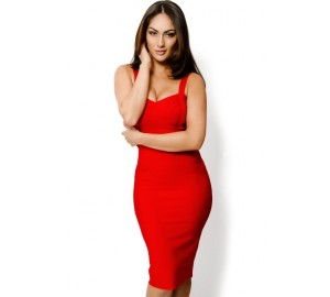 'Ada' red midi bandage dress