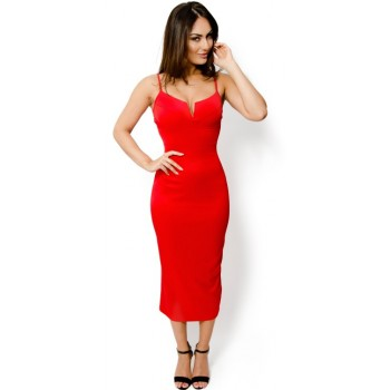 'Abia' red midi dress with deep v-neck