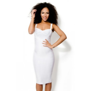 'Ada' white midi bandage dress