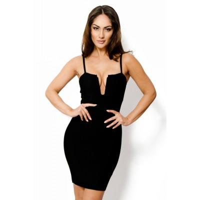 'Alase' black deep v-neck bandage dress