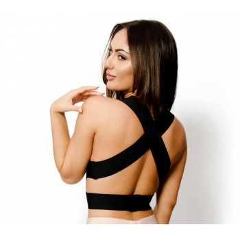 'Lucy' black cut out bandage crop top