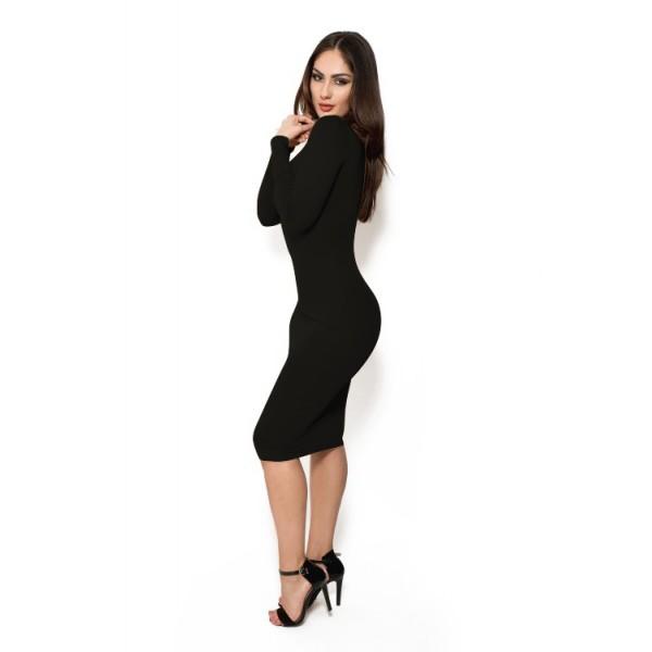 Zwarte jurk met leren mouwen