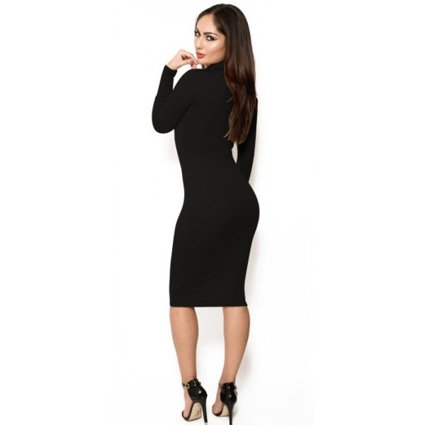 Zwarte basic jurk lange mouw
