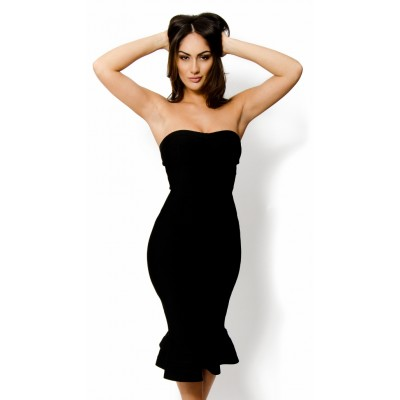 ' 'Leyla' black strapless bandage dress with fluted hem