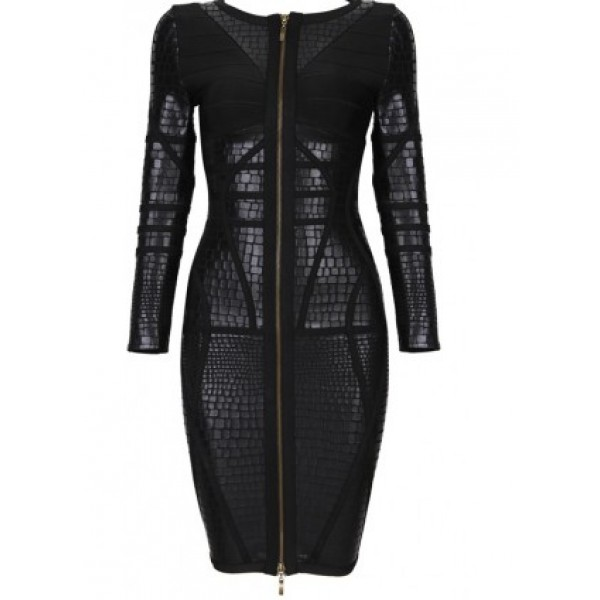 Black Herve Leger Inspired Dress With Long Sleeves
