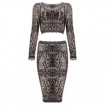 'Lisa' jungle print 2 piece bandage dress