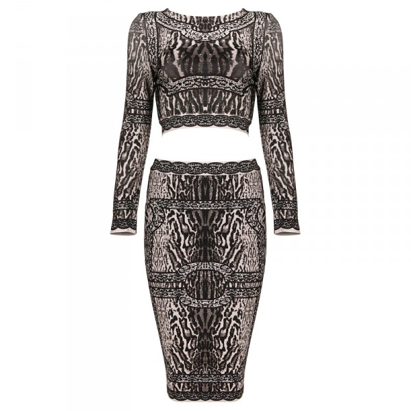 6cdcd3dde398 Sexy animal two piece bandage dress with long sleeves!