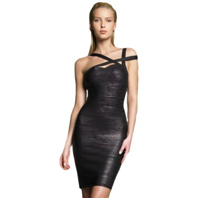 Black Crossover bandage dress