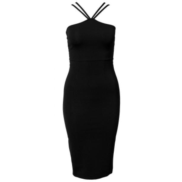 dc814aafe8c46b  Adaya  zwarte midi jurk met gekruiste bandjes   ...