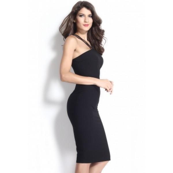 bc00ebf2d3f4d4 Elegant zwarte knielange midi dames bandage jurkje