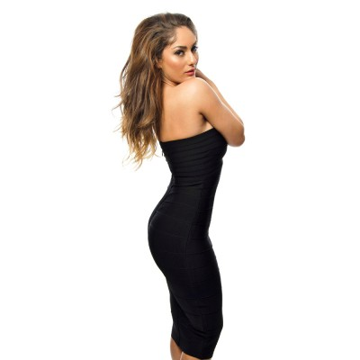 'Alissa' Black strapless midi bandage dress