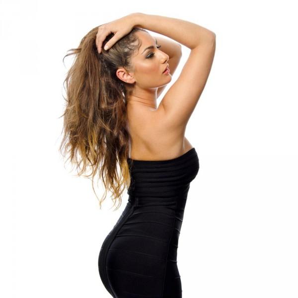 0ace0f7cb18423 ...  Alissa  Zwarte strapless over de knie lengte bandage jurk