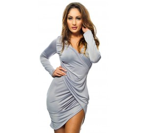 'Sodraya' Grey draped bodycon dress with long sleeves