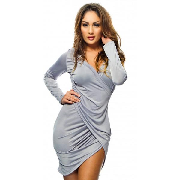 27ad94a6331e7e Sexy grijze gedrapeerde bodycon jurk in de stijl van Draya Michele!