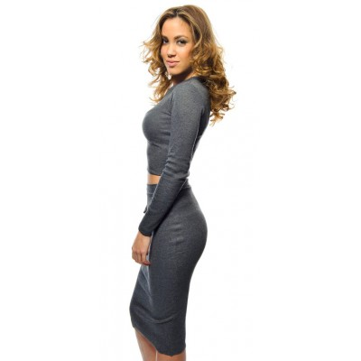 'Jamila' grey two piece dress