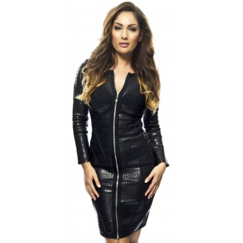 'Irina' leather bandage dress with long sleeves