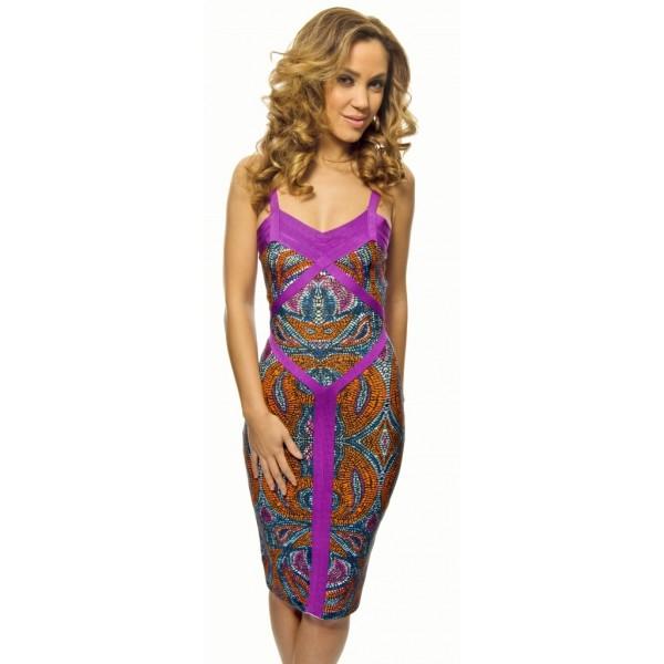 knielanges violett lila kleid mit offenem r cken. Black Bedroom Furniture Sets. Home Design Ideas