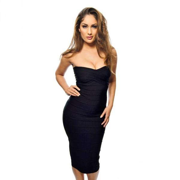 a510cca4971d3c ...  Alissa  Zwarte strapless over de knie lengte bandage jurk   ...