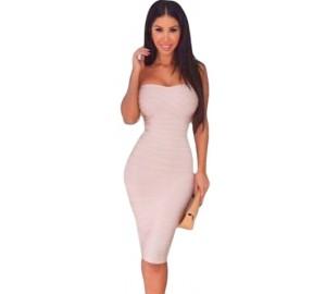 b694750079f049 Witte knielange strapless bandage jurk met choker