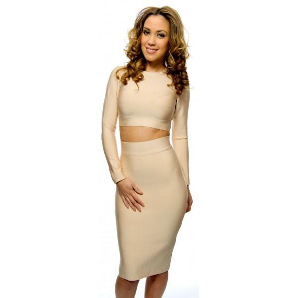 Spiksplinternieuw Tijdloze nude two piece bandage jurk met lange mouwen AS-84