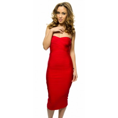 'Alissa' Red strapless midi bandage dress