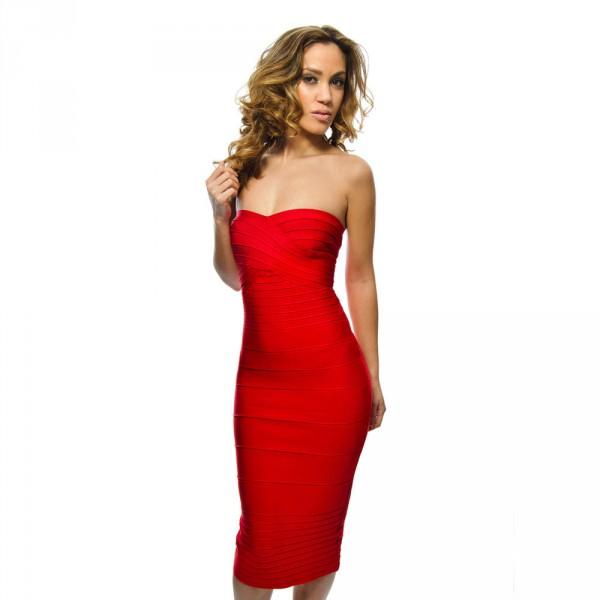 Rode jurk knielengte