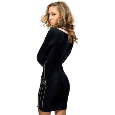 Selita black bandage dress with long sleeves