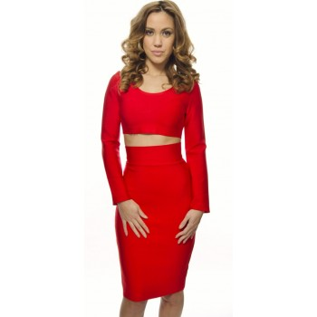 'Sila' red two piece bandage dress with long sleeves