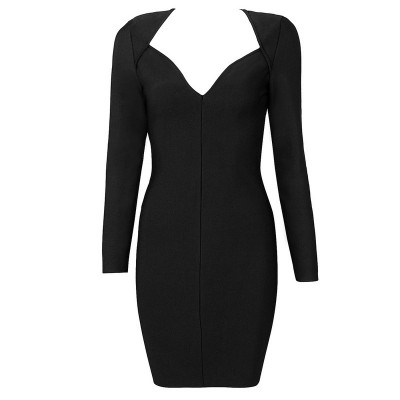 'Vanessa' black sweetheart bandage dress with long sleeves