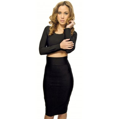 'Sila' black two piece bandage dress with long sleeves