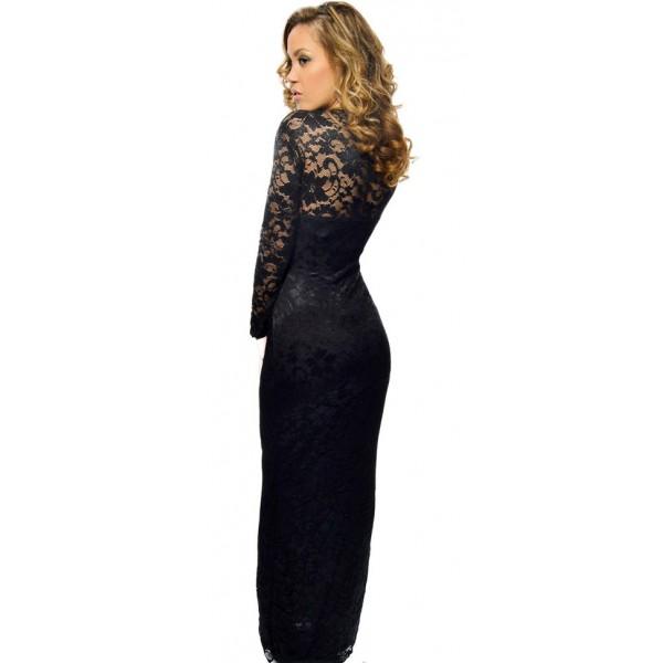 Lange kanten jurk zwart