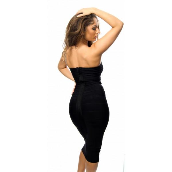 ab67841f18937e  Alissa  Zwarte strapless over de knie lengte bandage jurk   ...