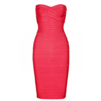 Coral strapless bandage dress