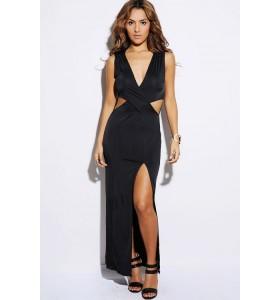 cut out zwarte maxi jurk