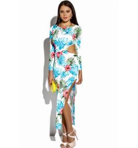 'Corlita' cut out Tropische maxi jurk