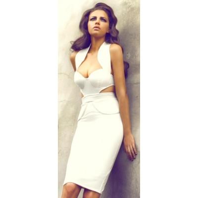 'Cassandra'  laag uitgesneden witte bandage jurk
