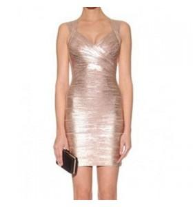Gold Princess bandage dress